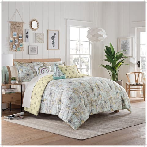 Waverly Spree Mapped Out Reversible Comforter Set - Mint
