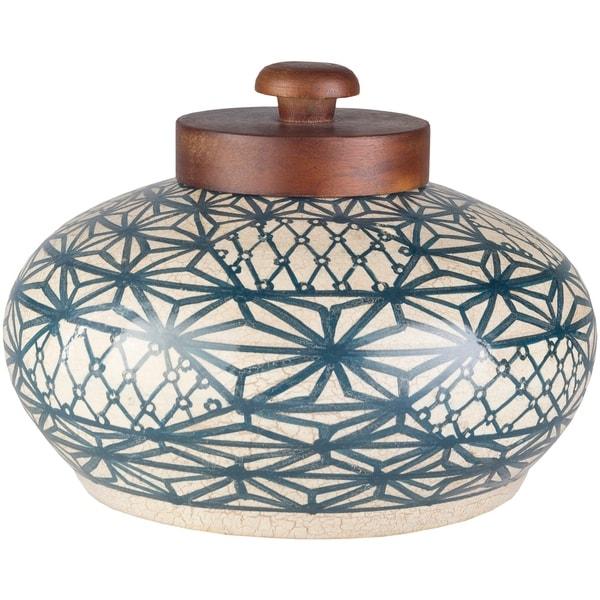 Munro Navy/ Beige Boho Terracotta Short Vase