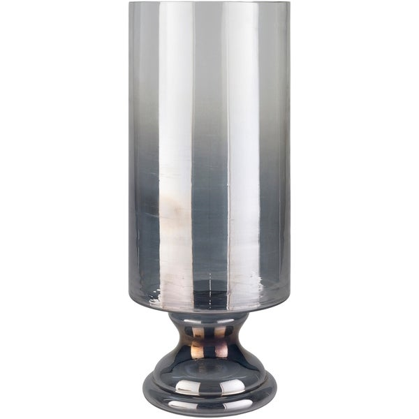Shop Jordyn Large Silver Glass Hurricane Vase Free Shipping Today