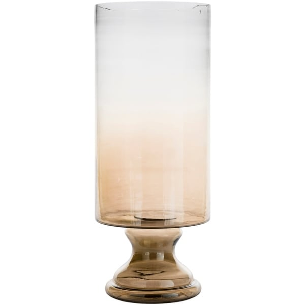 Shop Jordyn Large Ombre Tan Glass Hurricane Vase Free Shipping