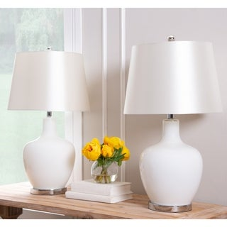 Abbyson Faremont White Glass 24-inch Table Lamp (Set of 2)