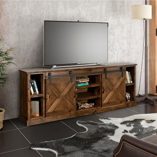 The Gray Barn Sycamore Rise Farmhouse Aged Whiskey Finish Wood 85-inch TV Console