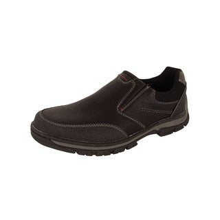 Memphis One Mens Faux Leather Casual Slip On Loafer Shoes, Black