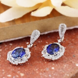 Fancy Oval Shaped 6 3/8cttw Royal Blue Sapphire and 2 1/8ct TDW Diamond Halo Earrings in 18K Gold by Auriya