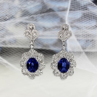 Auriya Fancy 8 1 5ct Royal Blue Sapphire Oval And 2ctw Halo Diamond Earrings 18K Gold