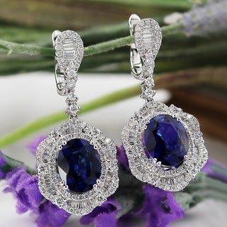 Fancy Oval Shaped 6 3/8ct Royal Blue Sapphire and 2 3/8ct TDW Diamond Halo Earrings in 18K Gold by Auriya