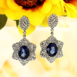 18K White Gold 6 3/4CT Blue Sapphire and 1 1/4ct TDW Diamond Halo Earrings by Auriya - ROYAL BLUE