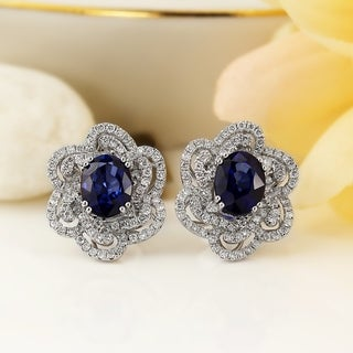 Auriya 18K White Gold 3 5/8CT Blue Sapphire and 9/10ct TDW Diamond Halo Earrings