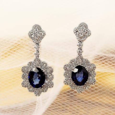 Auriya Fancy 5 3/4ct Royal Blue Sapphire Oval and 1 1/4ctw Dangling Halo Diamond Earrings 18K Gold