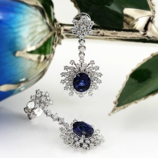 18K White Gold 5 3/4CT Blue Sapphire and 1 7/8ct TDW Diamond Halo Dangling Earrings by Auriya - ROYAL BLUE