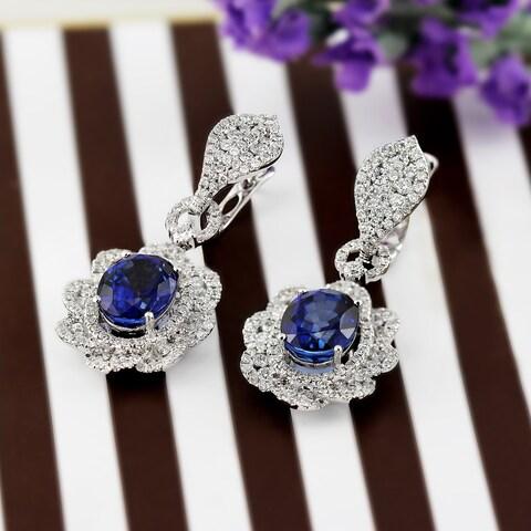 Auriya 18K White Gold 8 1/2CT cttw Blue Sapphire and 2 3/4ct TDW Diamond Halo Earrings