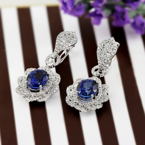 Auriya Fancy 8 1/2ct Royal Blue Sapphire Oval and 2 3/4ctw Halo Diamond Earrings 18K Gold