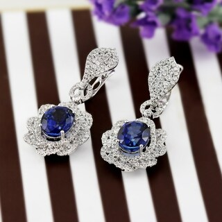 Auriya 18K White Gold 8 1/2CT Blue Sapphire and 2 3/4ct TDW Diamond Halo Earrings