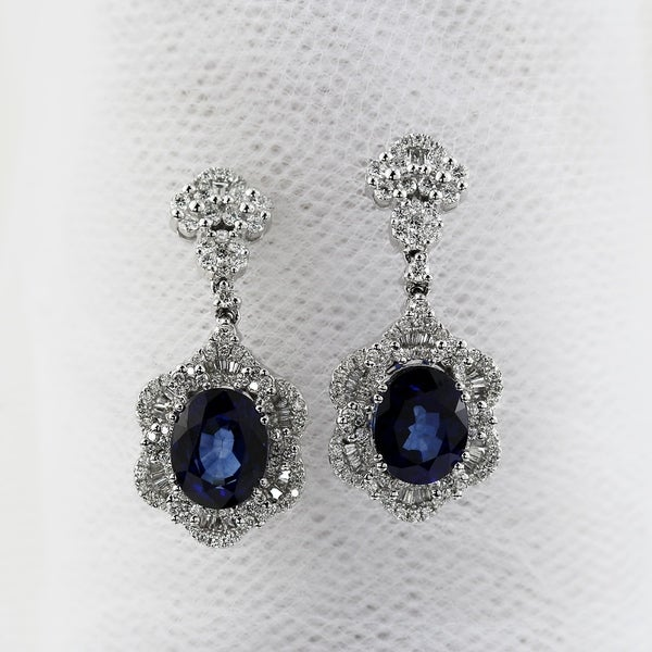 54 8ct sapphire dangle earrings 18 kt gold shop fancy oval shaped 7 9 10ct royal blue sapphire and 1