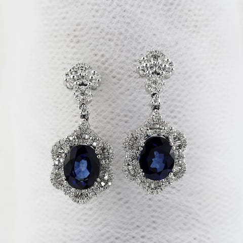 Auriya Fancy 7 9/10ct Royal Blue Sapphire Oval and 1 7/8ctw Diamond Drop Earrings 18K Gold