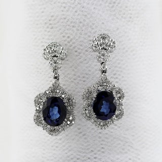 Fancy Oval Shaped 7 9/10ct Royal Blue Sapphire and 1 7/8ct TDW Diamond Drop Earrings in 18K Gold by Auriya
