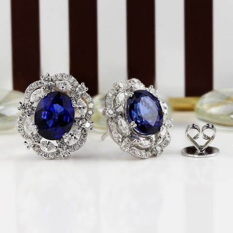 Auriya Fancy 7 1/2ct Royal Blue Sapphire Oval and 1 3/4ctw Halo Diamond Earrings 18K Gold