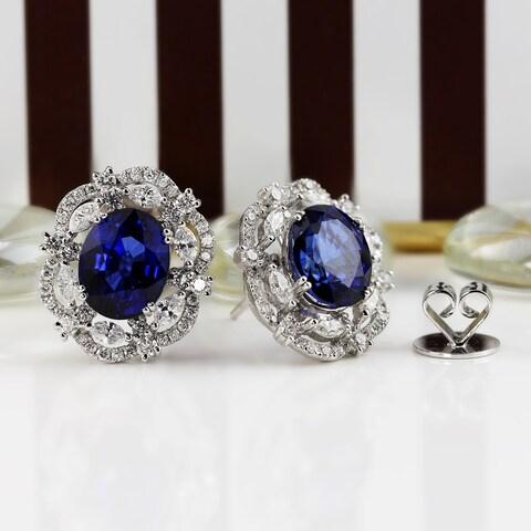 Auriya 18K White Gold 7 1/2CT cttw Blue Sapphire and 1 3/4ct TDW Diamond Halo Earrings