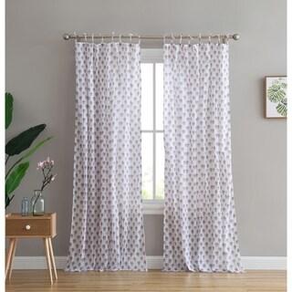 Peach & Oak Azalea Tie Top Single Curtain Panel