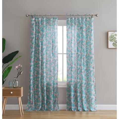 Peach & Oak Tie Top Single Curtain Panel