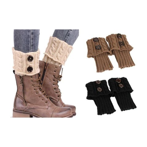 Cable Knit Boot Toppers with Buttons