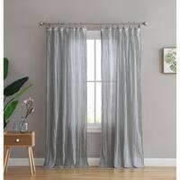 Peach & Oak Clover Grey Tie Top Single Curtain Panel