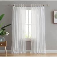 Peach & Oak Clover White Tie Top Single Curtain Panel