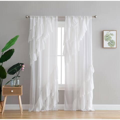 Peach & Oak Astrea Ruffle White Rod Pocket Single Curtain Panel