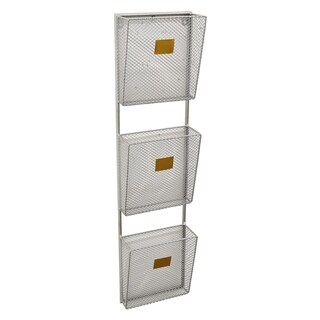 Metal Wall Storage Rack 3 Tier Finished in Silver - 8 X 3.75 X 32