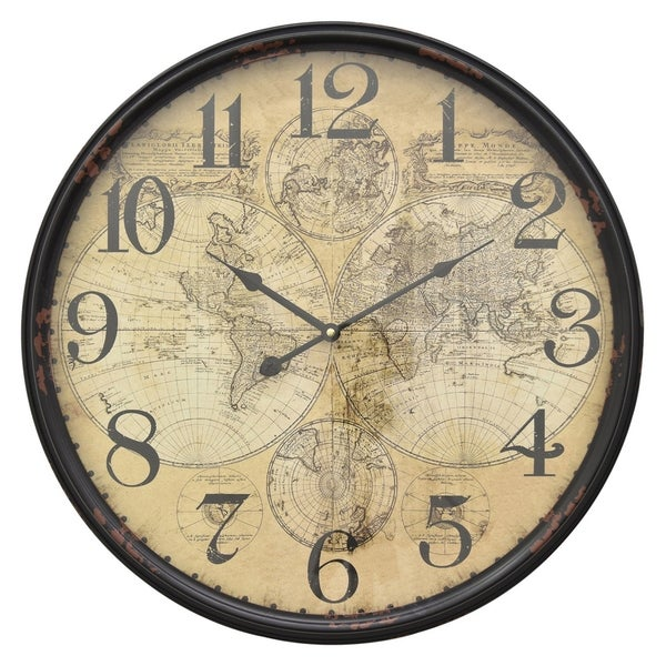 Metal Wall Clock Finished in Black - 21.25 X 2.5 X 21.25