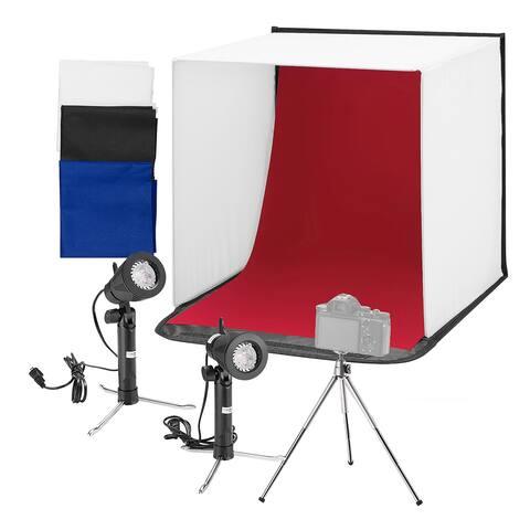 """Square Perfect 24"""" Folding Photo Box Tent LED Light Table Top"""