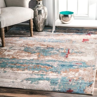 """nuLOOM Blue Contemporary Abstract Painting Area Rug - 6'7"""" x 9'"""