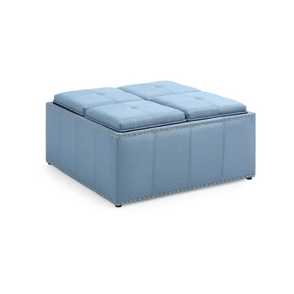Collections Of Cube Storage Ottoman Blue Onthecornerstone Fun Painted Chair Ideas Images