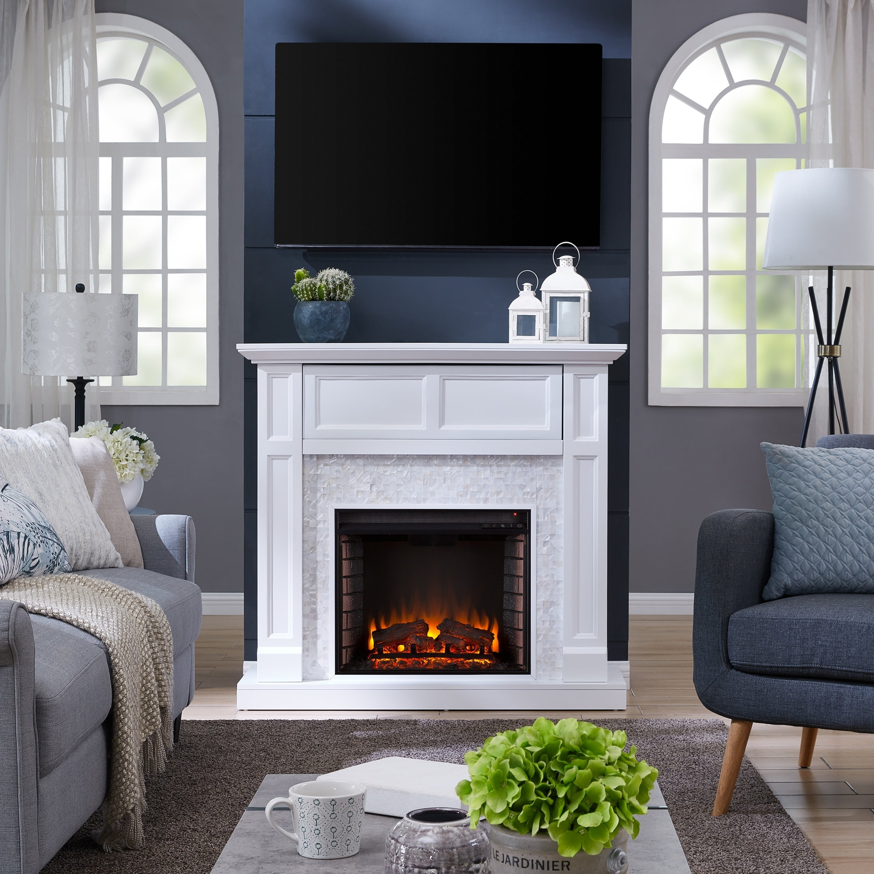Silver Orchid Rehni Tiled Media Electric Fireplace Console Na