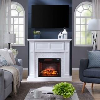Harper Blvd Viridian Tiled Media Infrared Fireplace Console