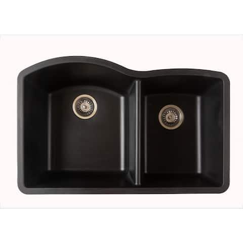 Titan Quartz Undermount 32 in. 55/45 Double Bowl Kitchen Sink with Strainer