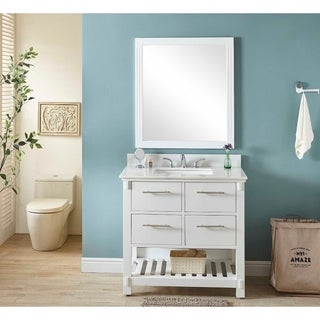 """36"""" Single Sink Bathroom Vanity In White Finish With Arctic Pearl Quartz Marble Top-NO FAUCET"""