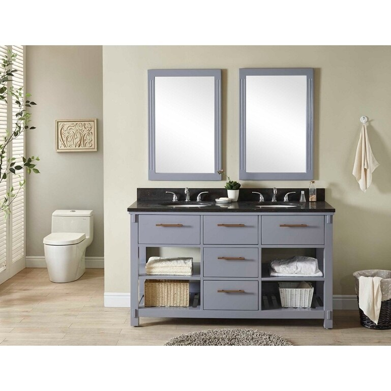 Details About Infurniture Grey Wood 60 Inch Double Sink Bathroom Vanity With Polished Textured