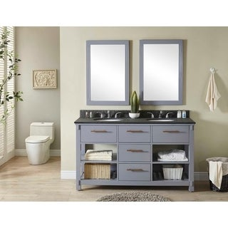 Infurniture Grey Wood 60-inch Double-sink Bathroom Vanity with Polished Textured Surface Granite Top, No Faucet