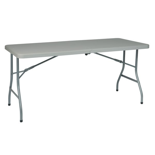 5' Resin Multi Purpose Center Fold Table with Wheels
