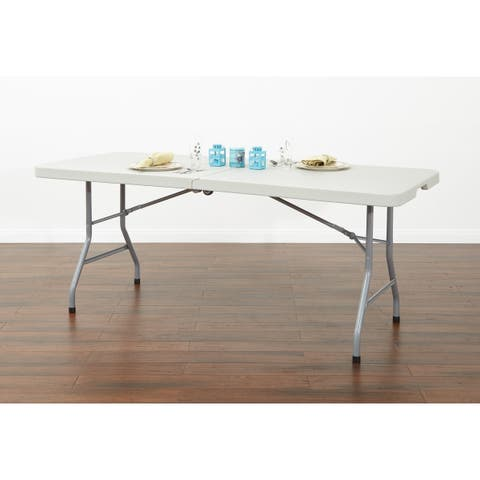 Work Smart 6' Resin Multi Purpose Center Fold Table with Wheels
