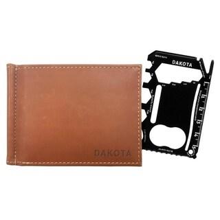 Dakota Genuine Leather RFID Slim Wallet with Multi-Tool & Money Holder