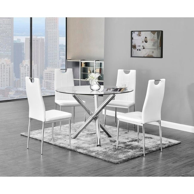 Best Master Furniture 5 Pieces Glass Dinette Set