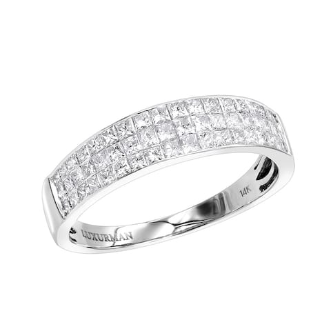 Diamond Wedding Band for Men in 14K Gold Invisible Princess Cut Diamonds 1.3ctw G-H Color by Luxurman