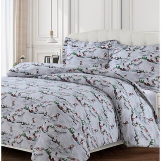 Winter Wonderland 170-GSM Cotton Flannel Printed Oversized Duvet Set