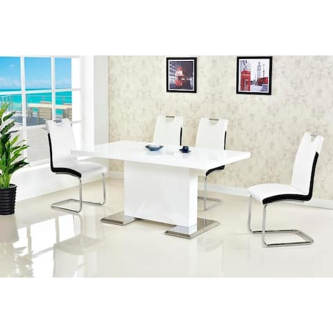 Best Master Furniture 5 Pieces White Lacquer Dining Set