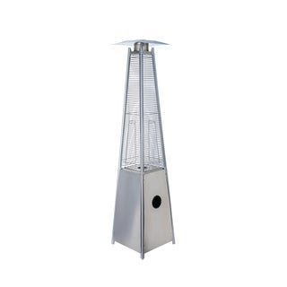 Pyramid Glass Column Flame Patio Heater, Stainless Steel