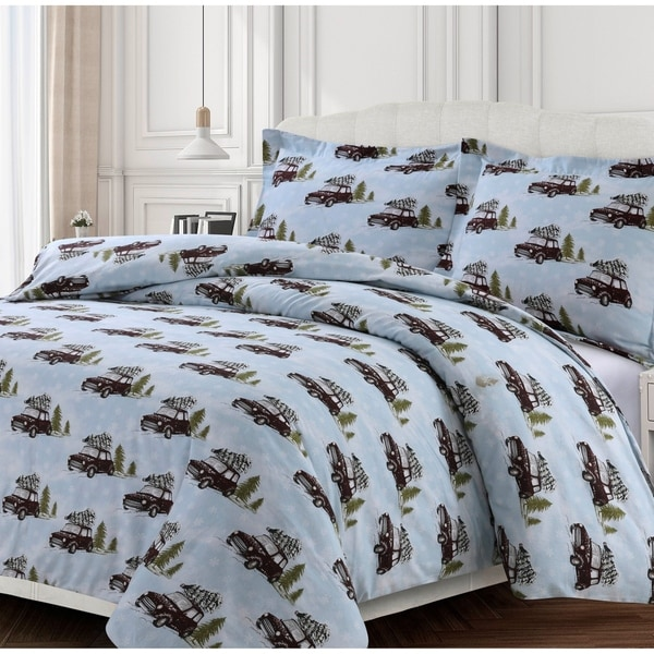 Winter Outing 170-GSM Cotton Flannel Printed Oversized Duvet Set