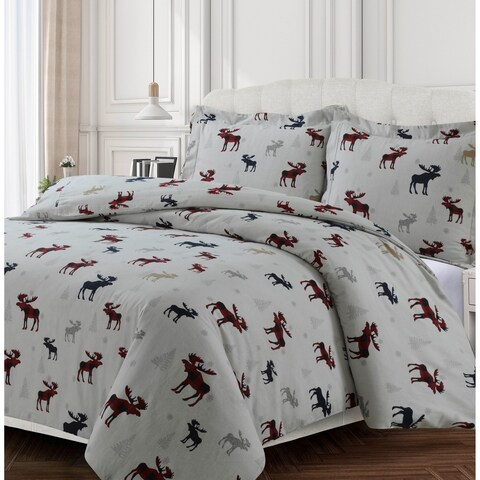 Plaid Moose 170-GSM Cotton Flannel Printed Oversized Duvet Set