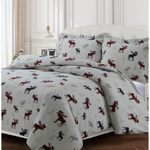 Plaid Moose 170-GSM Cotton Flannel Printed Oversized Duvet Set - moose reeindeer